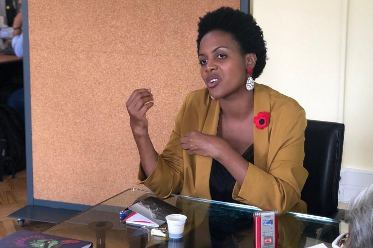 Joacine Katar Moreira, candidata do Partido Livre, foi entrevistada pelos correspondentes estrangeiros